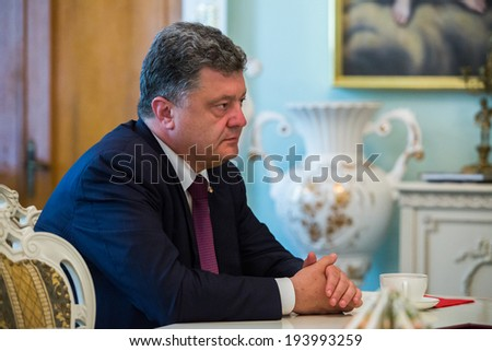 KYIV, UKRAINE - MAY 19, 2014: Most rating Ukrainian presidential candidate, ukrainian politician, businessman and millionaire Petro Poroshenko during a election meeting in Kyiv. - stock photo
