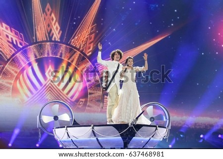 KYIV, UKRAINE - MAY 10 2017: Naviband the representative of Belarus at ESC (EUROVISION) acts on the main stage during semi-final 2 dress rehearsal 1 (incl. 3 Acts from Big 5 + Host) in Kyiv, Ukraine.