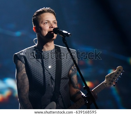 KYIV, UKRAINE - MAY 12, 2017: O.Torvald of Ukraine at ESC (EUROVISION) Eurovision Song Contest 2017 during Final dress rehearsal
