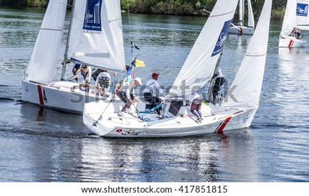 Kyiv, Ukraine - May 9, 2016: Sailing Crew in Action at Hetman Cup 2016 (ISAF Grade 2) - International Regatta, held on the Dnieper River in Kyiv, Ukraine.