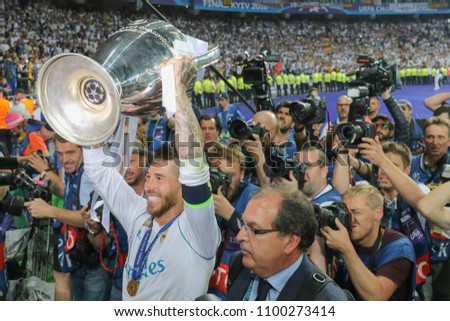 KYIV, UKRAINE – 26 MAY, 2018: Sergio Ramos with the UEFA Champions League Cup during the final match UEFA Champions League between Liverpool and Real Madrid