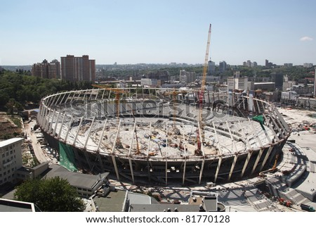 KYIV, UKRAINE - MAY 31: The Olympic Stadium Under Construction For The UEFA EURO 2012. May 31, 2011, Kyiv, Ukraine - stock photo