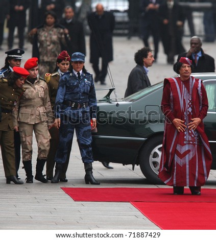 KYIV, UKRAINE - NOV. 4: President of Libya's Muammar Gaddafi arrives for a state visit to to the Ukraine on November 4, 2008 in Kyiv, Ukraine.