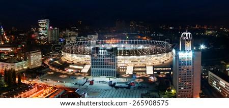 KYIV, UKRAINE - NOVEMBER 2011: Night view of Olympic stadium (NSC Olimpiysky) November 11, 2011 in Kyiv, Ukraine - stock photo