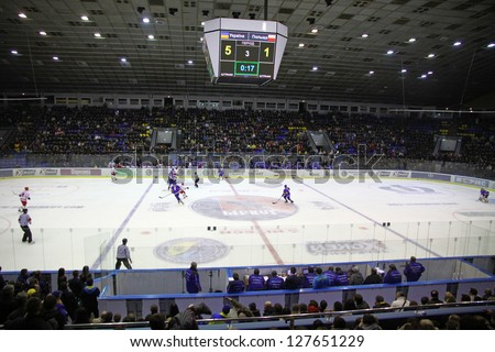 "KYIV, UKRAINE - NOVEMBER 11: ""Palats Sportu"" Arena during ice-hockey pre-olympic qualification game between Ukraine and Poland on November 11, 2012 in Kyiv, Ukraine - stock photo"