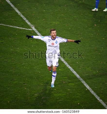 KYIV, UKRAINE - OCTOBER 20: Andriy Yarmolenko of Dynamo Kyiv reacts after scored a goal during Ukrainian Championship game against Arsenal Kyiv on October 20, 2013 in Kyiv, Ukraine - stock photo