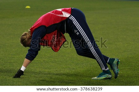 KYIV, UKRAINE - October 20, 2015: Domagoi Vida in training before the UEFA Champions League between Dynamo Kiev and Chelsea, London at NSC Olimpiyskiy Stadium