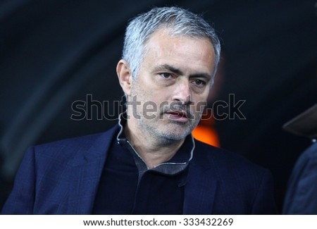 KYIV, UKRAINE - OCTOBER 20, 2015: FC Chelsea manager Jose Mourinho looks on during UEFA Champions League game against FC Dynamo Kyiv at NSC Olimpiyskyi stadium in Kyiv - stock photo