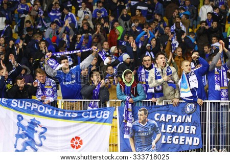 KYIV, UKRAINE - OCTOBER 20, 2015: FC Chelsea supporters show their support during UEFA Champions League game against FC Dynamo Kyiv at NSC Olimpiyskyi stadium in Kyiv