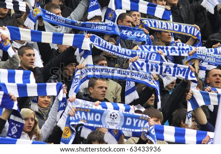 KYIV, UKRAINE - OCTOBER 16: FC Dynamo Kiev team supporters show their support during Ukraine Championship game against FC Karpaty Lviv on October 16, 2010 in Kyiv, Ukraine