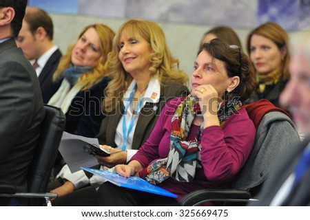 KYIV, UKRAINE - OCTOBER 9, 2015: Giovanna Barberis - UNICEF Representative in Ukraine - during a press conference about polio outbreak in Ukraine