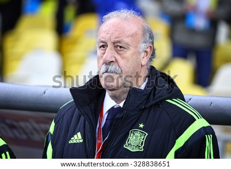 KYIV, UKRAINE - OCTOBER 12, 2015: Head coach of Spain National football team Vicente del Bosque looks on during UEFA EURO 2016 Qualifying game against Ukraine at NSK Olimpiyskyi stadium - stock photo