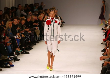 KYIV, UKRAINE - OCTOBER 12, 2016: Models walk on the catwalk during Fashion Show by Label ONE as part of 39th Ukrainian Fashion Week at Mystetskyi Arsenal in Kyiv, Ukraine