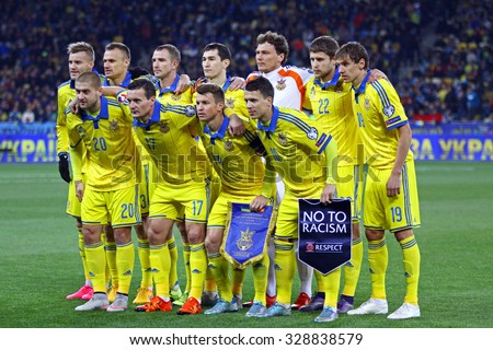 KYIV, UKRAINE - OCTOBER 12, 2015: Players of Ukraine National football team pose for a group photo before UEFA EURO 2016 Qualifying game against Spain at NSK Olimpiyskyi stadium in Kyiv - stock photo