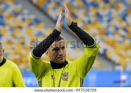 KYIV, UKRAINE - OCTOBER 3, 2016: The Ukraine National Team head coach Andriy Shevchenko FIFA World Cup 2018 Qualifying matches. NSC Olympic stadium, Kyiv
