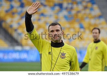 KYIV, UKRAINE - OCTOBER 3, 2016: The Ukraine National Team head coach Andriy Shevchenko gestures FIFA World Cup 2018 Qualifying matches. NSC Olympic stadium, Kyiv