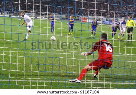KYIV, UKRAINE - SEPTEMBER 16: Artem Milevskiy of Dynamo Kyiv misses the penalty during UEFA Europa League game against Bate on September 16, 2010 in Kyiv, Ukraine - stock photo