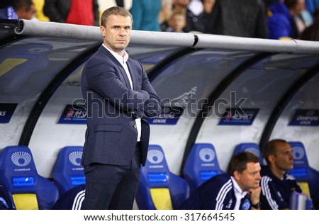 KYIV, UKRAINE - SEPTEMBER 16, 2015: FC Dynamo Kyiv manager Serhiy Rebrov looks on during UEFA Champions League game against FC Porto at NSC Olimpiyskyi stadium