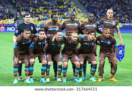 KYIV, UKRAINE - SEPTEMBER 16, 2015: FC Porto players pose for a group photo before UEFA Champions League game against FC Dynamo Kyiv at NSC Olimpiyskyi stadium - stock photo