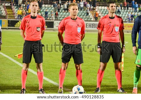 KyiV, UKRAINE - September 2, 2016: Judicial brigade before the qualifying round UEFA Euro-2017 between Ukraine U21 vs France U21, 2 September 2016, Ukraine