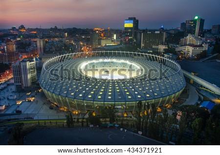KYIV, UKRAINE - SEPTEMBER 15: Olympic stadium (NSC Olimpiysky) during from the top on September11, 2015 in Kyiv, Ukraine - stock photo