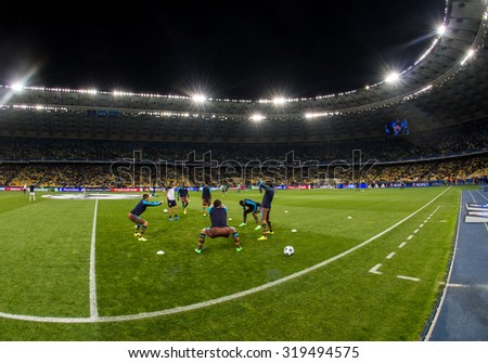 KYIV, UKRAINE - SEPTEMBER 16, 2015: Panoramic view of NSC Olimpiyskyi stadium in Kyiv during UEFA Champions League game between FC Dynamo Kyiv and FC Porto