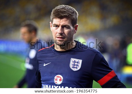 KYIV, UKRAINE - SEPTEMBER 9, 2013: Steven Gerrard of England looks on during training session at NSC Olympic stadium before FIFA World Cup 2014 qualifier game against Ukraine - stock photo