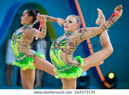 KYIV, UKRAINE - SEPTEMBER 1, 2013: Team of Russia performs during 32nd Rhythmic Gymnastics World Championship (Group Apparatus Final competition) at Palace of Sports in Kyiv - stock photo