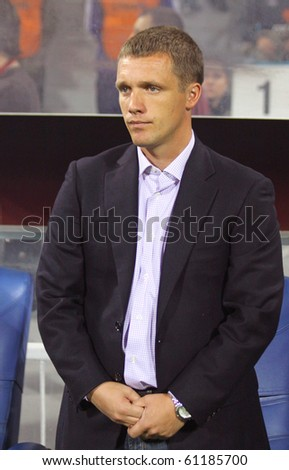KYIV, UKRAINE - SEPTEMBER 16: The head coach of FC BATE Borisov Viktor Goncharenko looks on during during UEFA Europa League game against Dynamo Kyiv on September 16, 2010 in Kyiv, Ukraine