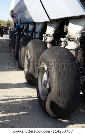 KYIV, UKRAINE - SEPTEMBER 29: World biggest plane Antonov An-225 landing gear during 8th International Aviation Salon AVIASVIT-XXI;September  29, 2012 in Kyiv, Gostomel Airfield, Ukraine