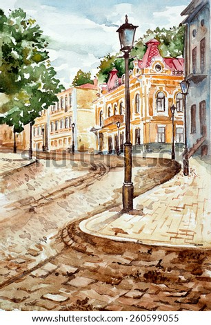 Kyiv watercolor painted landscape - stock photo