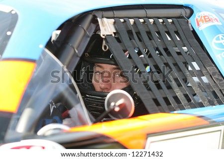 Kyle Busch in car at Madison International Speedway opener May 4, 2008 - stock photo