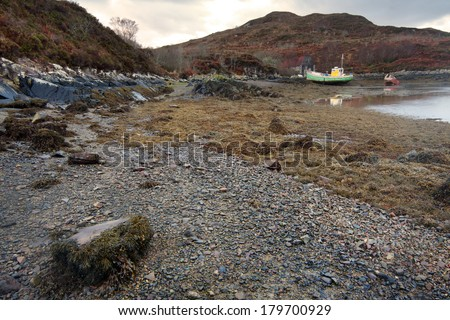 Kyleakin, Isle of Skye:The beach - stock photo