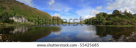 Kylemore Abbey in Connemara mountains panoramic - Ireland