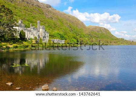 Kylemore Abbey lake and shoreline . Mayo County , Ireland - stock photo