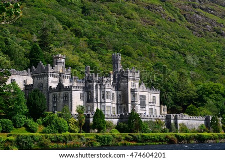 KYLEMORE - AUGUST 15 : Benedictine abbey on 15 August 2016 at Kylemore, Ireland. Kylemore has one of the most famous nun abbey in Ireland.