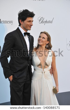 Kylie Minogue & Andres Velencoso at amfAR's 20th Cinema Against AIDS Gala at the Hotel du Cap d'Antibes, France May 23, 2013  Antibes, France - stock photo