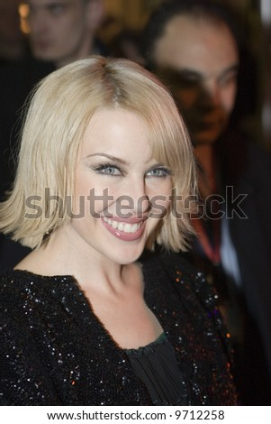 Kylie Minogue at her Brit Awards party at Movida in London - 20 February 2008 - stock photo