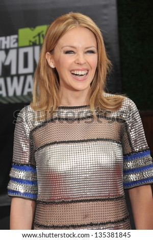 Kylie Minogue at the 2013 MTV Movie Awards at Sony Studios, Culver City. April 14, 2013  Los Angeles, CA Picture: Paul Smith - stock photo