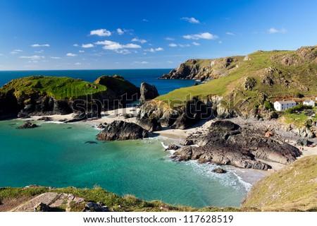 Kynance Cove on the Lizard Peninsula Cornwall England UK - stock photo