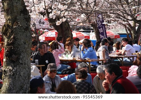 "KYOTO - APRIL 4: Japanese people gather on April 4th, 2010 in Maruyama Park in Kyoto, Japan to celebrate ""hanami"", the Cherry blossom celebration. This park is the most famous hanami place of Japan. - stock photo"