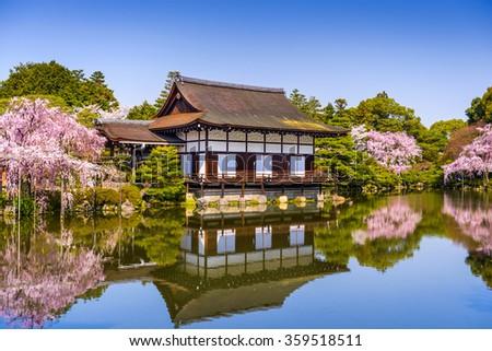 Kyoto, Japan at Heian Shrine's pond in the spring season. - stock photo
