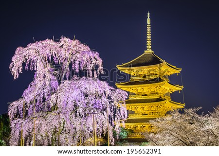 Kyoto, Japan at To-ji pagoda in the springtime. - stock photo