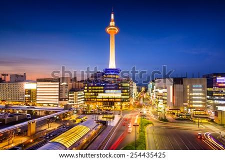 Kyoto, Japan downtown city skyline at night. - stock photo
