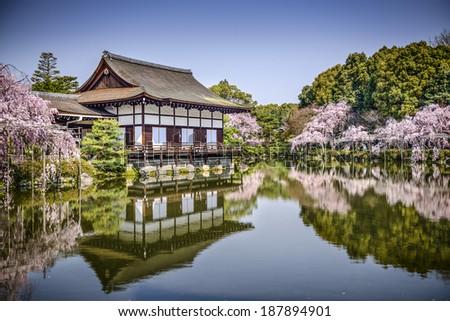 Kyoto, Japan gardens at Heian Shrine in the spring season. - stock photo