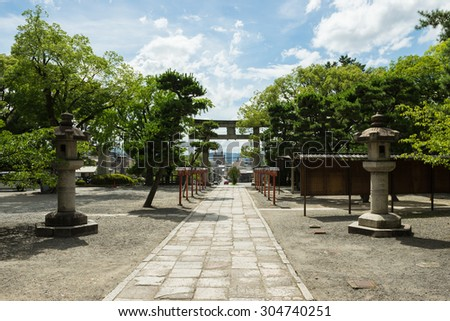KYOTO, JAPAN - JULY 13, 2015: Torii gate to the Toyokuni shrine in Kyoto.