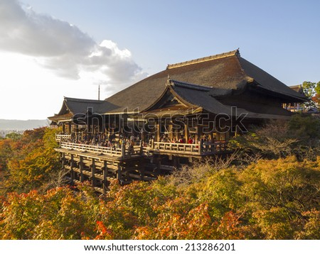 KYOTO, JAPAN - NOV 22: Evening at Main hall of Kiyomizu-dera temple in autumn on November 22, 2011 in Kyoto, Japan. Founded in the 700's, the present stage structure dates from 1633. - stock photo
