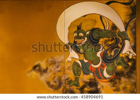 KYOTO, JAPAN - NOVEMBER 22 2015: Ancient paintings of Wind and Thunder Gods on partitions at Kenninji Temple