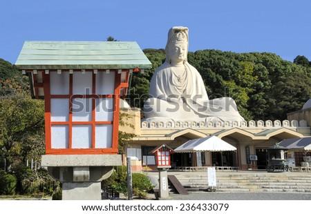 KYOTO,JAPAN-NOVEMBER 4,2014 Bodhisattva Avalokitesvara (Kannon) at Ryozen Kannon in Kyoto.The Ryozen Kannon Temple is a tribute to the unknown soldier from world war two. November 4, 2014 Kyoto, Japan - stock photo