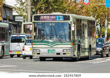 KYOTO, JAPAN - NOVEMBER 20: Bus in Kyoto, Japan on November 20, 2013. The Kyoto City Buses are major mean of public transport in Kyoto. The buses have been operating since 1928